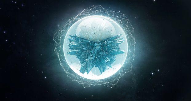 Обои Голубая сфера на черном фоне космоса