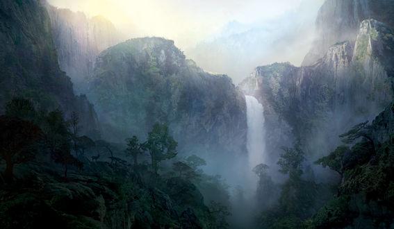 Обои Водопад среди гор и деревьев в небольшом тумане