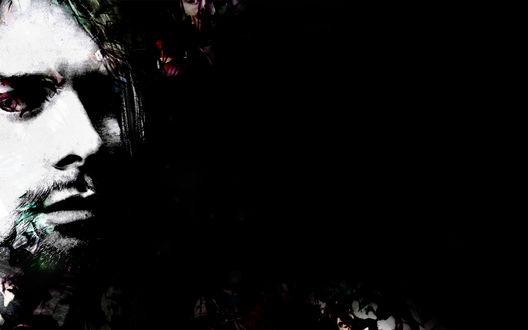Обои Портрет солиста американской рок-группы Нирвана / Nirvana Курта Кобейна / Kurt Cobain на черном фоне