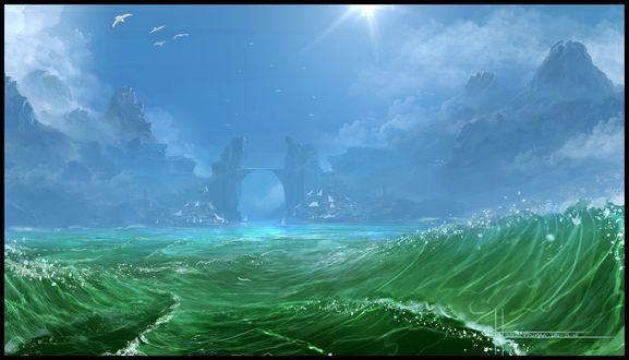 Обои Зеленое море, вдали мост из скал