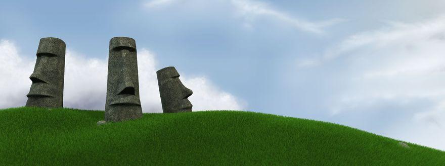 Обои Монолитные истуканы моаи, расположенные на острове Пасхи