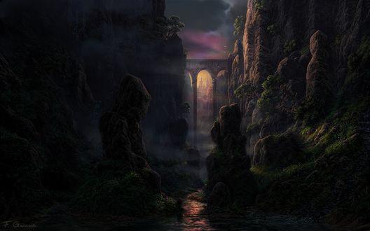 Обои Пейзаж на ущелье с мостом, на заднем плане замок