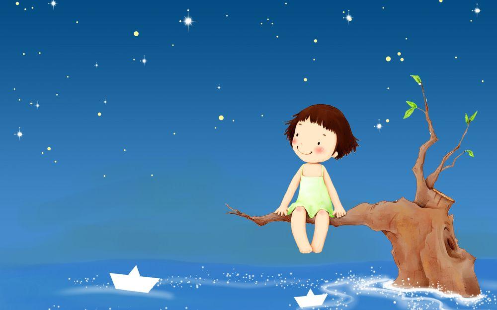 Обои для рабочего стола Маленькая девочка сидит на дереве на фоне ночного неба и звезд, под ней в море плавают бумажные кораблики