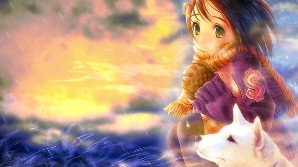 Обои Анимешная девушка в шарфе с белой собакой греет руки на фоне заката