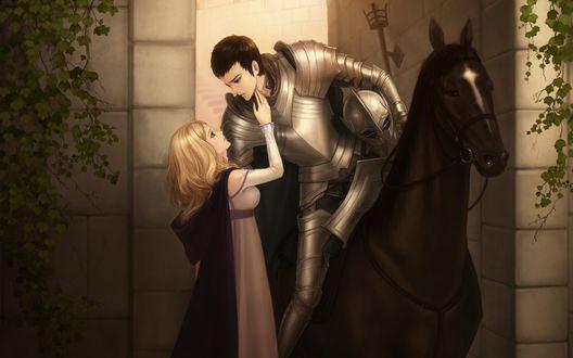 Обои Мужчина, сидя на коне, прощается с девушкой