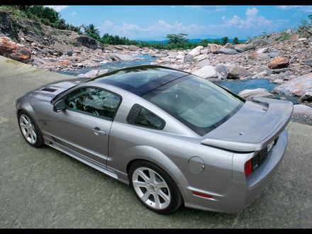Обои Серый автомобиль Ford Mustang / Форд Мустанг стоит на дороге