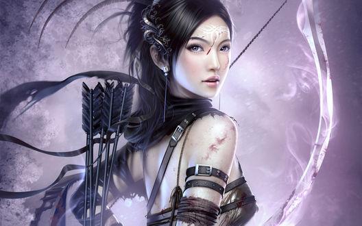 Обои Красивая лучница с татуировкой на лбу