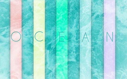 Обои Надпись Ocean / Океан на разноцветных полосках