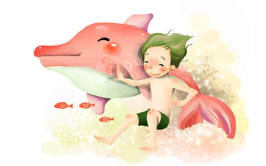 Обои Мальчик с зелеными волосами, плывет рядом с розовым дельфином, оба улыбаются