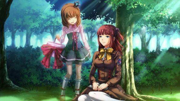 Обои Мария Уширомия / Maria Ushiromia и Анж Уширомия / Ange Ushiromia, сидящая под деревом, из аниме 'Когда плачут чайки' / 'Umineko no Naku Koro ni'