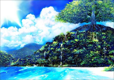 Обои Большое дерево среди маленького водопада и моря внизу
