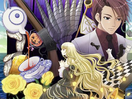 Обои Баттлер Уширомия / Battler Ushiromia и Беатриче / Beatrice из аниме 'Когда плачут чайки' / 'Umineko no Naku Koro ni' на фоне шахмотной доски, роз, револьвера, леденца в форме хэллоуинской тыквы, бабочек и чайника, из которого в чашку льется чай