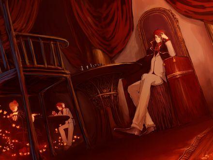 Обои Баттлер Уширомия / Battler Ushiromia из аниме 'Когда плачут чайки' / 'Umineko no Naku Koro ni' сидит в кресле перед шахматным столом и ожидает Беатриче / Beatrice, за ним Беатриче и его копия играют в шахматы, окруженные золотыми бабочками