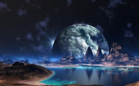 Обои Вид на другую планету на фоне ночного звездного неба
