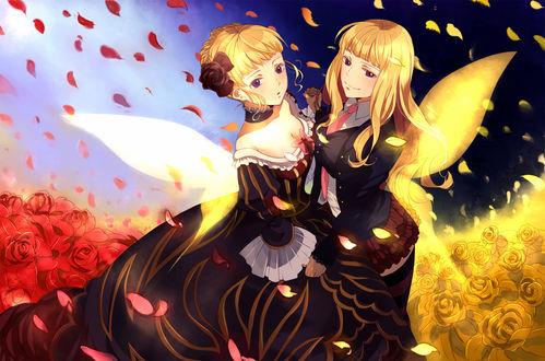 Обои Беатриче / Beatrice из аниме 'Когда плачут чайки' / 'Umineko no Naku Koro ni' и ее второе 'я', стоящие в розах, за их спинами крылья