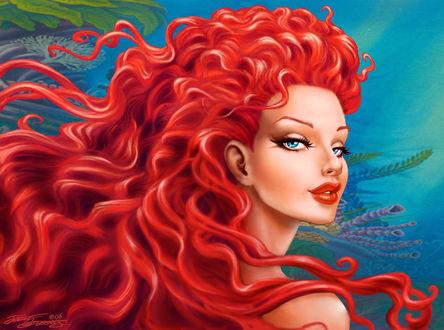 Обои Русалка с красными волосами на дне океана