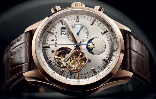 Обои Оригинальные швейцарские наручные часы  Зенит / Swiss Zenith Watch с кожаным ремнем