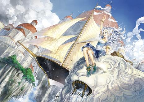 Обои Девушка сидит на статуе льва, рядом в воздухе парит корабль