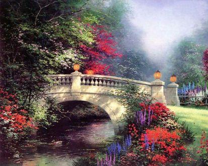 Обои Мост через маленькую речку с цветами на берегах, художник Томас Кинкейд  / Thomas Kinkade