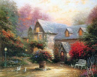 Обои Маленький цветущий парк перед домом с лавочкой, клумбой с цветами и гуляющими гусями, художник Томас Кинкейд  / Thomas Kinkade