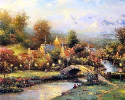 Обои Маленький утопающий в цветах городок, стоящий на берегах небольшой реки, художник Томас Кинкейд  / Thomas Kinkade