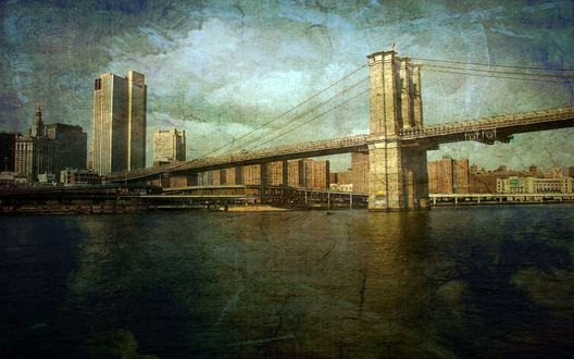 Обои Бруклинский мост / Brooklyn Bridge над проливом Ист-Ривер / East River, Нью-Йорк / New York City