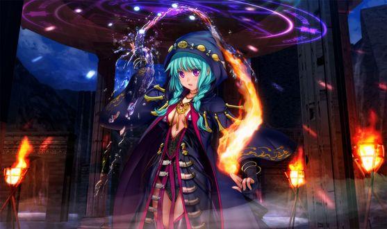 Обои Зеленоволосая девушка, демонстрирующая магию воды и огня