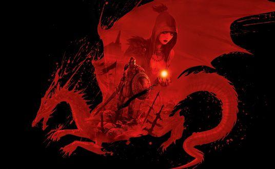 Обои Ведьма с магическим шаром в руке и рыцарь в силуэте дракона из игры Dragon Age / Век дракона