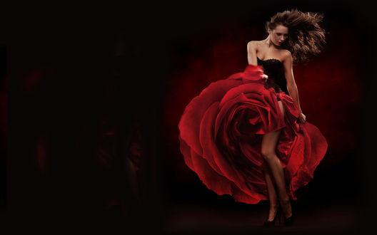 Обои Девушка танцует в платье в виде бутона красной розы на темном фоне