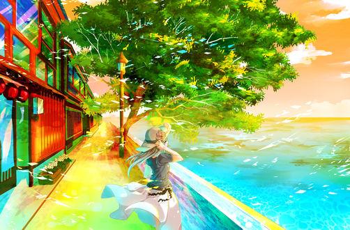 Обои Девушка стоит на набережной и смотрит в сторону моря