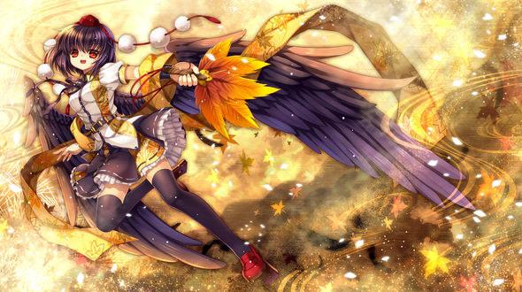 Обои Aya Shameimaru / Ая Шамеймару с черными крыльями за спиной, из серии компьютерных игр Тохо / Touhou Project