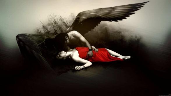 Обои Ангел мужчина с черными крыльями склонился над девушкой в красном платье