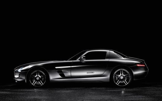 Обои Черный Mercedes-Benz SLS AMG - 2010