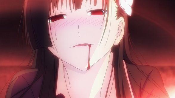 Обои Санка Рэя / Sanka Rea из аниме «Санкарэя» / «Sankarea» с каплей крови, стекающей изо рта