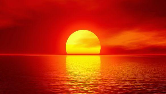 Обои Красный закат солнца на горизонте моря