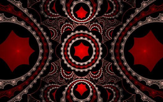 Обои Фрактальный узор напоминающий шестеренки с красным