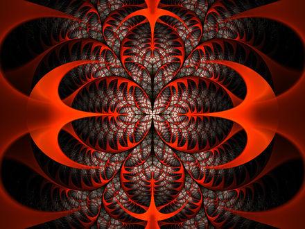 Обои Красно-черный фрактальный узор