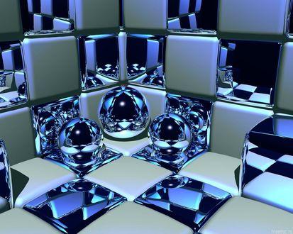 Обои Синие шарики лежат на синих кубиках