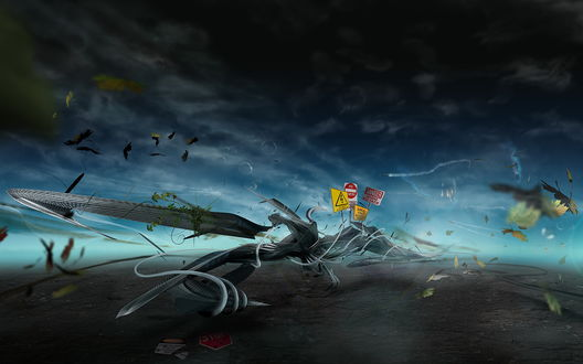 Обои Скрученное дорожное полотно, вокруг летают листья и в небе виднеется самолет