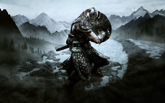 Обои Воин на вершине горы с мечом из игры The Elder Scrolls V: Skyrim / Древние свитки 5: Небесный край