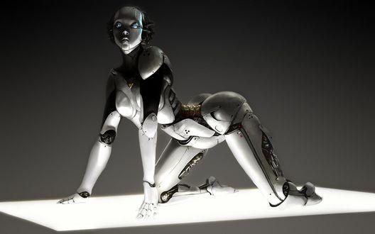 Обои Девушка-робот стоит на коленях упершись руками в неоновый пол