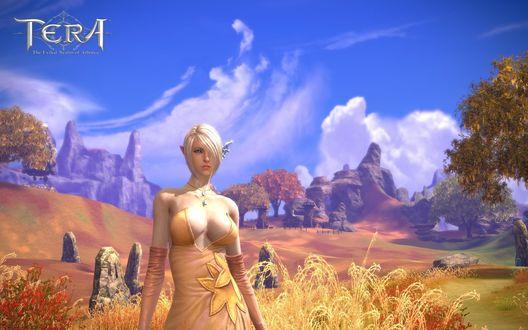 Обои Девушка персонаж из онлайн игры TERA / Тэра стоит на фоне сказочного пейзажа