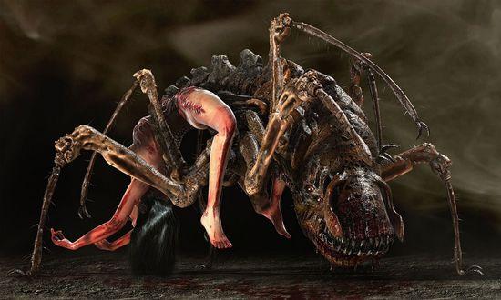 Обои Паук - мутант наполовину из женского тела
