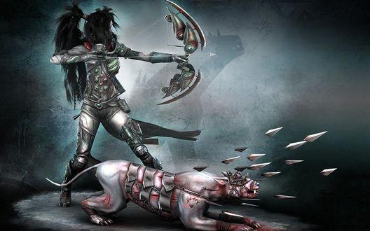 Обои Темная девушка - эльфийка с луком в руке и ее верный пес стреляет шипами