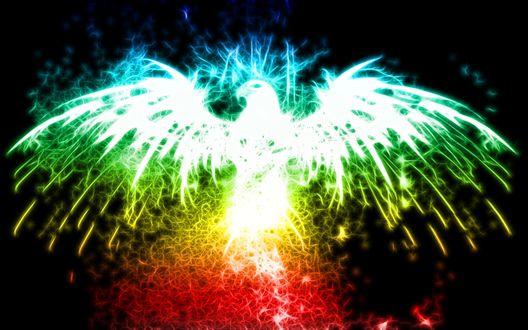 Обои Силуэт орла в разноцветных искрах на черном фоне