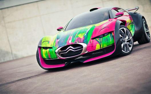 Обои Ярко окрашеный Citroen Survolt Concept / Ситроен Сурвольт электрический спорткар
