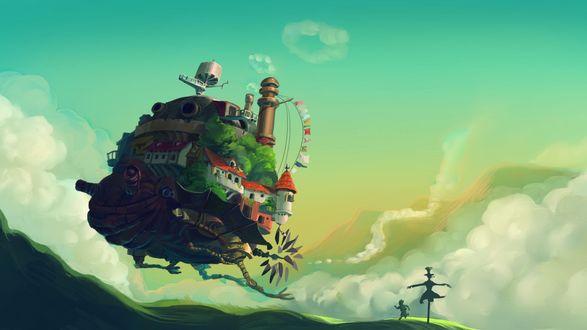 Обои Подпрыгивающий Ходячий замок в окружении облаков и силуэта с пугалом, арт по аниме Ходячий замок Хаула / Hauru no ugoku shiro
