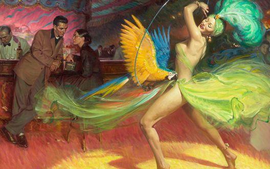 Обои Девушка танцует на публике с попугаем, за барной стойкой мило беседуют мужчина и женщина, а бармен обслуживает клиентов