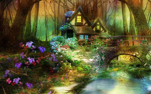 Обои Маленький домик в лесу и речка с мостом