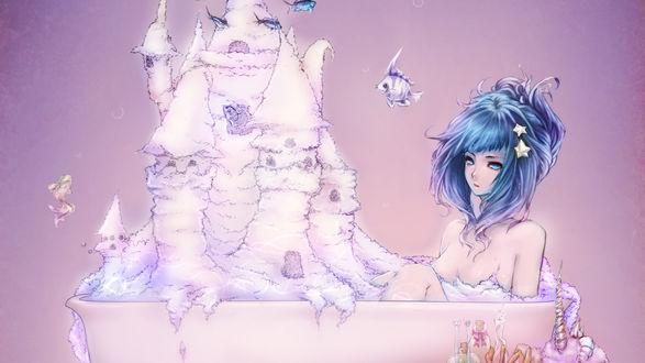 Обои Девушка в подводном мире сидит в ванне, в которой находится замок из розоватой пены, вокруг плавают рыбы